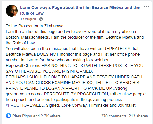 Facebook post that caused trouble for lawyer Beatrice Mtetwa