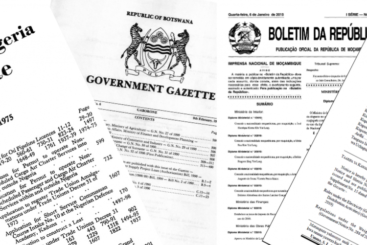 African government gazettes